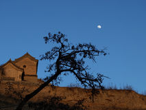 The Rising Moon in Loess Plateau Stock Image
