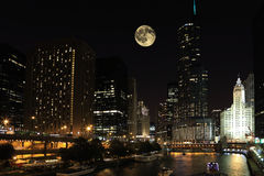 Rising moon over Chicago, Illinois Royalty Free Stock Photo