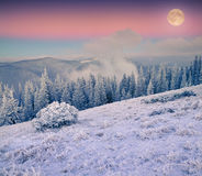 Rising moon over frosty winter mountains Royalty Free Stock Photo