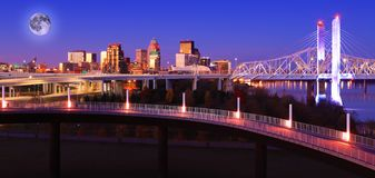 Rising moon over Louisville, Kentucky royalty free stock photography