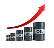 Rising oil barrel. 3d rendering stock illustration
