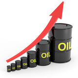 Rising oil barrels graph. Royalty Free Stock Image