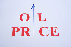 Rising oil price. A macro  image of the words 'oil price ' with an arrow replacing the letter ' i ' in both words. A concept image relating to the current price Royalty Free Stock Photo