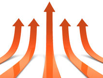 Rising orange arrows 3D. 3d render illustration Stock Image