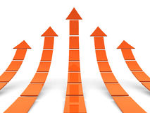 Rising orange arrows 3D. 3d render illustration Royalty Free Stock Photo