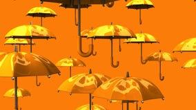 Rising Orange Umbrellas stock video footage