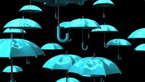 Rising Pale Blue Umbrellas stock footage