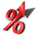 Rising percentage symbol Stock Images