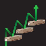 Rising Postal Prices or Profits. An image of 3d shipping boxes with rising green arrow Stock Photo