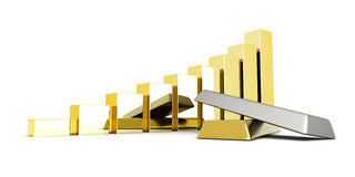 Rising precious metals. Rising value of precious metals. 3D rendered Illustration Stock Image
