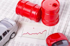 Rising price of crude oil and gasoline Stock Images