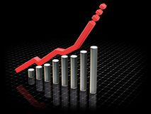Rising profits. 3D render of a chart showing rising profits Royalty Free Stock Photos