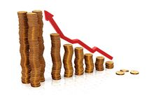 Rising profits. 3D render of a chart showing rising profits Royalty Free Stock Photo