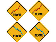 Rising profits falling income warning sign. With graphs Stock Photo