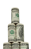 The rising pyramid of hundred dollar. Bills on white background Stock Images