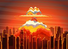 Rising radioactive bright mushroom cloud on city. Rising radioactive heated bright yellow mushroom cloud on big city, Nuclear explosion. Vector illustration Stock Photos