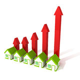 Rising real estate price house arrows bar chart Stock Photos