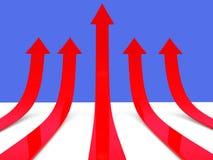 Rising red arrows 3D. Rising red arrows - 3D render illustration Royalty Free Stock Photo