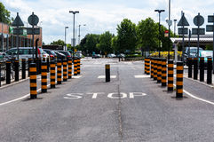 Rising retractable traffic bollards STOP Stock Photos