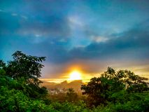Rising. Sun nature city morning royalty free stock photo
