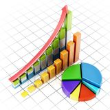 Rising sale bars and pie chart showing financial data. 3D illustration.  Royalty Free Stock Images