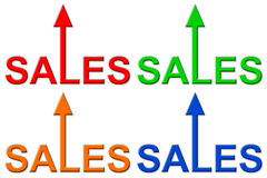 Rising sales. Icons in different colors Royalty Free Stock Images