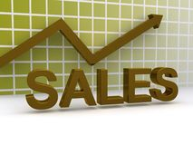 Rising sales graph. Three-dimensional graph with a rising line and arrow and the word sales in the foreground Royalty Free Stock Image