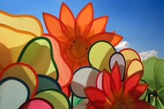 Rising of smiling pinwheel. And blue sky Stock Images
