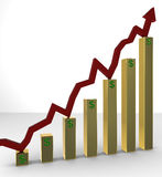 Rising Stocks on Golden Bars Royalty Free Stock Images