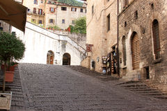 Rising streets of Gubbio, Umbria, Italy Stock Photo