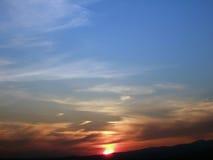 Rising sun. Colorful sun with beautiful sky stock photo