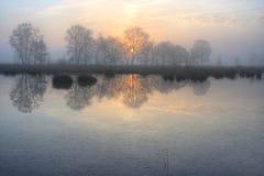 Rising sun above a lake Royalty Free Stock Image