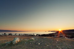 Rising sun on Baikal Royalty Free Stock Photos