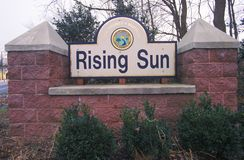 Rising Sun City sign, Cecil County, Maryland Stock Photo