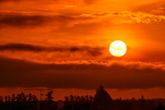 Rising sun in the morning. Rising sun with orange warm colour in the morning stock images