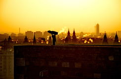 Rising sun over the city Stock Image