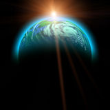 Rising sun and planet illustration Royalty Free Stock Photo