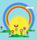 Rising sun and rainbow. Garden with butterfly, rainbow ,flowers and rising sun Stock Images
