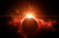 Rising Sun in space Nebula stock photography