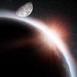 Rising Sun Under The Earth Planet Stock Photo