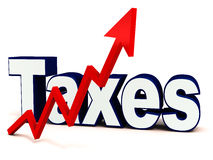 Rising taxes. Taxes going higher, with rising graph in red color, white background for easy use, concept of tax savings and investment Stock Image
