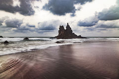 Rising tide in a quiet beach in Canary Islands Royalty Free Stock Images