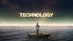 Rising typo Technology, front of Businessman on a ship, in the ocean, sea. stock video