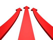 Rising up abstract success red arrows on white Stock Photo