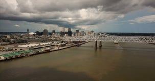 Static aerial bridge deck Mississippi River New Orleans Louisianna stock video