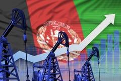 Rising up chart on Afghanistan flag background - industrial illustration of Afghanistan oil industry or market concept. 3D Illustr. Afghanistan oil industry royalty free illustration