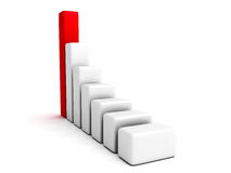 Rising up 3d bar graph red top Stock Images