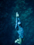 Rising up from the depth. Freediver rises up from the depth of the Blue Hole in Dahab, Egypt stock image