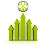 Rising up green arrows to success target. Concept 3d render illustration Royalty Free Stock Photography