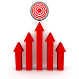 Rising up red arrows to success target. Concept 3d render illustration Stock Images